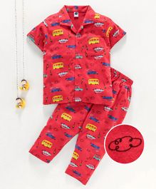 Teddy 100% Cotton Half Sleeves Night Suit Vehicle Print - Yellow