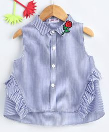 Lekeer Kids Collar neck Striped Shirt - Blue