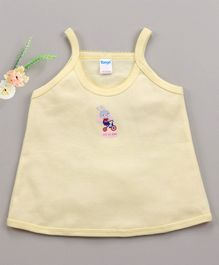 Tango Singlet Sleeves Slip Bunny Print - Light Yellow