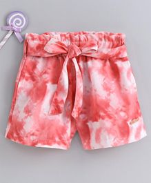 Button Noses Shorts With Belt Printed - Pink