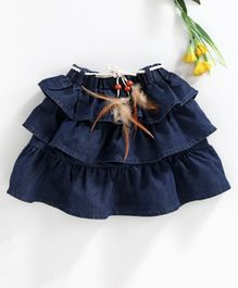 Button Noses Layered Denim Skirt Solid Colour - Navy Blue