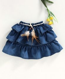 Button Noses Layered Denim Skirt Solid Colour -Blue