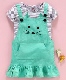 Button Noses Dungaree Style Frock With Half Sleeves Striped Tee - Green White