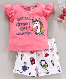 Button Noses Cap Sleeves Top & Shorts Unicorn Print - Pink & White
