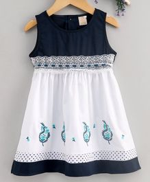 Smile Rabbit Sleeveless Floral Embroidered Frock - Navy Blue White