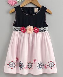 Smile Rabbit Sleeveless Frock Embroidered Flower Applique - Pink