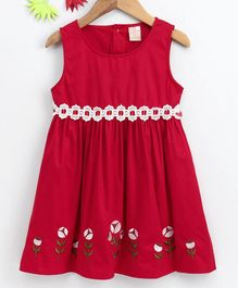 Smile Rabbit Sleeveless Floral Embroidered Frock - Red