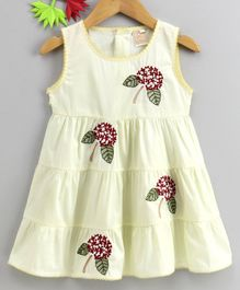Smile Rabbit Sleeveless Floral Embroidered Frock - Light Yellow