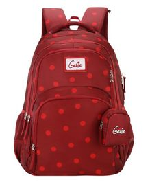Genie School Bag with Pouch Maroon - 19 Inches