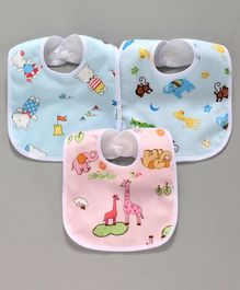 Animal Print Baby Bibs Pack of 3 - Blue Pink