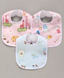 Zoe Animal Print Cotton Bibs Pack of 3 - Multicolor