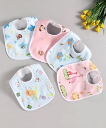 Zoe Animal Print Cotton Bibs Pack of 5 - Multicolor