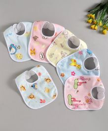 Zoe Animal Print Cotton Bibs Pack of 6 - Multicolor