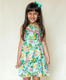 Campana Sleeveless Tropical Print Dress - Green