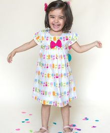 Campana All Over Ice Cream Print Short Sleeves Dress - White & Pink