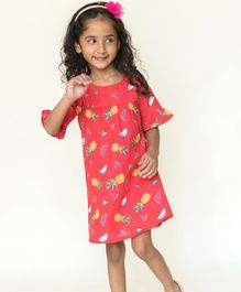Campana Ruffled Half Sleeves Fruits Printed Dress - Red