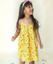 Campana All Over Butterflies Printed Sleeveless Dress - Yellow