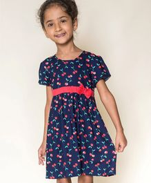 Campana All Over Cherry Printed Half Sleeves Flared Dress - Navy Blue & Red