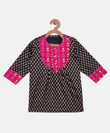 BownBee Printed Full Sleeve Kurti - Black