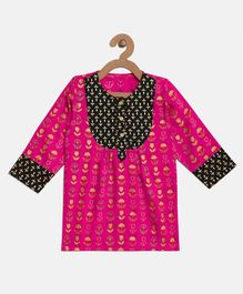 BownBee Flower Printed Full Sleeves Kurti - Pink