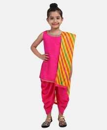 BownBee Solid Sleeveless Kurta With Dhoti & Striped Dupatta -Pink