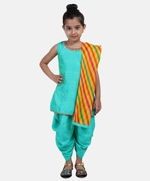 BownBee Solid Sleeveless Kurta With Dhoti & Striped Dupatta -  Green