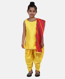 BownBee Solid Sleeveless Kurta With Dhoti & Striped Dupatta - Yellow