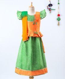 BownBee Short Sleeves Kurta With Striped Pattern Lehenga & Dupatta  - Green