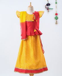 BownBee Short Sleeves Kurta With Striped Pattern Lehenga & Dupatta  - Yellow