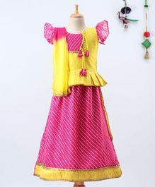BownBee Short Sleeves Kurta With Striped Pattern Lehenga & Dupatta  - Pink