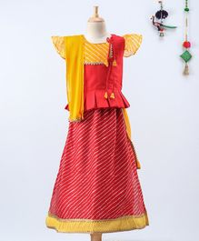 BownBee Short Sleeves Kurta With Striped Pattern Lehenga & Dupatta  - Red