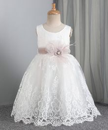 Mark & Mia 3/4th Length Frock Lace Bodice - White