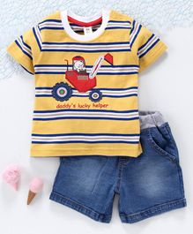 ToffyHouse Half Sleeves Tee & Shorts Construction Vehicle Patch - Yellow Navy