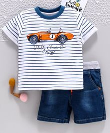 ToffyHouse Half Sleeves Striped Tee & Denim Shorts Car Print - White Blue