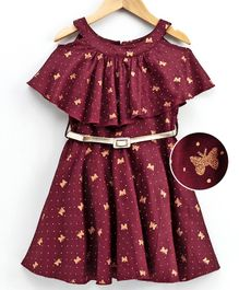 Naughty Ninos Half Sleeves Shimmer Butterfly Printed Cold Shoulder Dress - Maroon