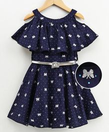 Naughty Ninos Half Sleeves Shimmer Butterfly Printed Cold Shoulder Dress - Navy Blue