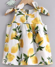 Yiyi Garden Sleeveless Frock Lemon Print - White Yellow