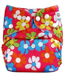 Bumberry Pocket Cloth Diaper With One Microfiber Insert - Flowers On Pink