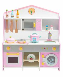 Wufiy Wooden Kitchen Set with Accessories - Pink