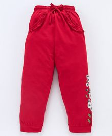 Nottie Planet Full Length Ruffle Detail Flower Print Pants - Red