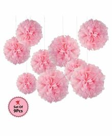 Party Propz Pom Poms Pink - Pack of 9
