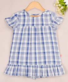Budding Bees Checked Short Sleeves Dress - Blue