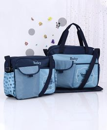 Diaper Bag Stripe Printed Blue - Set of 3