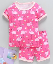 Yiyi Garden Half Sleeves Night Suit Flamingo Print - Dark Pink