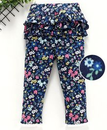 Yiyi Garden Full Length Leggings Floral Print - Navy Blue