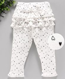 Yiyi Garden Full Length Leggings Heart Print - White