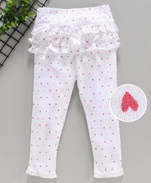 Yiyi Garden Full Length Leggings Heart Print - White Pink
