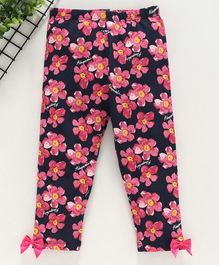 Yiyi Garden Floral Printed Leggings - Navy Blue Pink