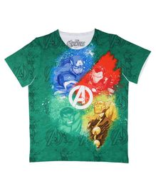 Marvel By Crossroads Half Sleeves Avengers Graphic Print Tee - Green