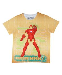 Marvel By Crossroads Half Sleeves Avengers Iron Man Print Tee - Yellow
